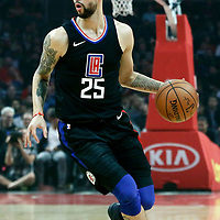 30 November 2017: LA Clippers guard Austin Rivers (25) drives during the Utah Jazz 126-107 victory over the LA Clippers, at the Staples Center, Los Angeles, California, USA.