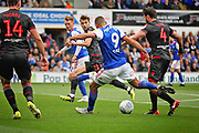 Ipswich Town forward Kayden Jackson (9) gets in a shot during the EFL Sky Bet Championship match between Ipswich Town and Bolton Wanderers at Portman Road, Ipswich, England on 22 September 2018.