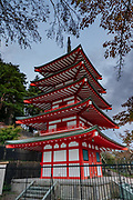 Chureito Pagoda, Fujiyoshida city, Yamanashi Prefecture, Japan. This five storied pagoda overlooks Fujiyoshida City. In clear weather it offers iconic views combined with Mount Fuji in the distance. The pagoda is part of the Arakura Sengen Shrine and was built as a peace memorial in 1963, nearly 400 steps up the mountain from the shrine's main buildings.