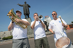 (left to right) Steve Wood 54, John Hemmingham 55 and Steve Homes 47 of the England Band in Lenin Square, Nizhny Novgorod ahead of England's second World Cup Group G game in the 2018 FIFA World Cup in Russia.