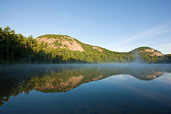 White Horse Ledge, Cathedral Ledge, and Echo Lake at Echo Lake State Park in North Conway, New Hampshire. White Mountains.