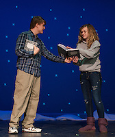 "Steve (Alec Medine) asks Marvalyn (Cordelia Penney) to write down ""What Hurts"" during the scene for ""Almost, Maine"" with Gilford High School's Performing Arts Tuesday afternoon.  (Karen Bobotas/for the Laconia Daily Sun)"