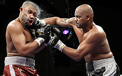 Dec 5, 2009; Atlantic City, NJ, USA; Anthony Thompson and Chazz Witherspoon trade punches during their heavyweight bout at the Adrian Phillips Ballroom in Atlantic City, NJ.  Thompson won via 9th round TKO.