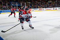KELOWNA, CANADA - NOVEMBER 17: Jake Elmer #20 of the Lethbridge Hurricanes skates against the Kelowna Rockets on November 17, 2017 at Prospera Place in Kelowna, British Columbia, Canada.  (Photo by Marissa Baecker/Shoot the Breeze)  *** Local Caption ***