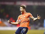 Luton Town player James Collins celebrates the second goal of the second half for Luton Town during the EFL Sky Bet League 2 match between Luton Town and Barnet at Kenilworth Road, Luton, England on 24 March 2018. Picture by Ian  Muir.