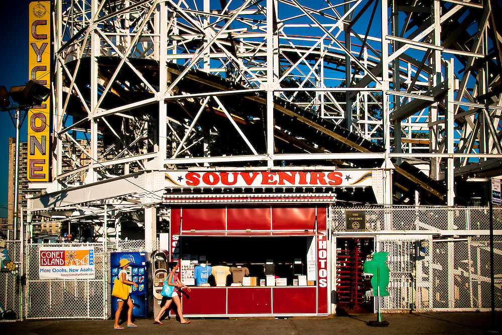 Souvenirs little store by the Cyclone roller coaster in Coney Island amusement park, Brooklyn, New York, 2010.