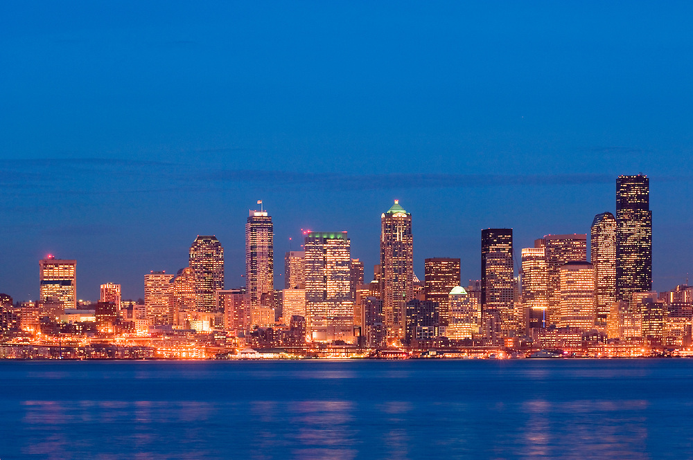 Downtown Seattle, Washington city skyline view at dusk from Alki.