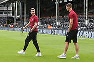 Christoph Zimmermann of Norwich and James Husband of Norwich before the Sky Bet Championship match at Craven Cottage, London<br /> Picture by Paul Chesterton/Focus Images Ltd +44 7904 640267<br /> 05/08/2017