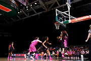 February 11, 2018: Shakayla Thomas #20 of Florida State shoots over Emese Hof #21 of Miami during the NCAA basketball game between the Miami Hurricanes and the Florida State Seminoles in Coral Gables, Florida. The Seminoles defeated the 'Canes 91-71.