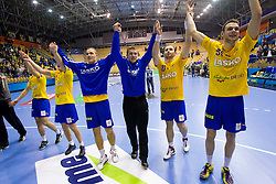 Urban Lesjak of Celje, Alem Toskic of Celje and Borut Mackovsek of Celje celebrate after the handball match between RK Celje Pivovarna Lasko and IK Savehof (SWE) in 3rd Round of Group B of EHF Champions League 2012/13 on October 13, 2012 in Arena Zlatorog, Celje, Slovenia. (Photo By Vid Ponikvar / Sportida)