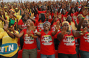 Ghanian supporters celebrate The African cup of Nations in their capital Accra..Ghana, West Africa, Africa.© Demelza Cloke
