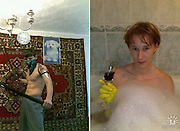 Wearing rubber gloves in the bath and trying to swallow a watermelon: The desperate poses of Russians looking for love online (which may reveal why they are single!)<br /> <br /> Lonely hearts looking for a mate have been known to go to extraordinary lengths to find the partner of their dreams.<br /> But for these people, captured in images posted on a Russian dating site, those lengths might be just a bit too far.<br /> The images provide a bizarre snapshot into the worlds of the people looking for love - and in some cases a weird and wonderful view inside their minds.<br /> <br /> n one of the hilarious pictures a woman, who has fashioned a mermaid costume from what looks like an ironed tablecloth, gazes seductively at the camera.<br />  <br /> And in another, which is designed to find the subject a date, a woman takes a bathtime selfie complete with glass of wine... and yellow rubber gloves.<br /> <br /> The men don't spare any blushes when looking for love too.<br /> One of the pictures shows a topless man, complete with a lego-esque haircut and high-waisted trousers.<br /> In the image he is flexing his muscles in a room that looks like it is straight out BBC sitcom Rising Damp.<br /> <br /> Another show a man in what can only be described as a shellsuit, performing a unusual backwards high kick in a children's play area.<br /> It is not just macho men on display, some of the boys have got in touch with their feminine side in order to attract a significant other.<br /> <br /> One man poses in a Halloween witch's hat, while another looks to be sporting an unusual peroxide blonde mullet.<br /> However, the fancy headpiece is actually a dead fox.<br /> ©Exclusivepix