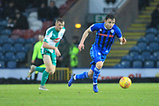 Ollie Rathbone brings the ball forward during the EFL Sky Bet League 1 match between Rochdale and Plymouth Argyle at Spotland, Rochdale, England on 15 December 2018.