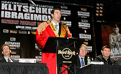 December 4, 2007; New York, NY, USA;  IBF/IBO Heavyweight Champion Wladimir Klitschko, speaks at the press conference announcing his February 23, 2008 unification fight against WBO Heavyweight Champion Sultan Ibragimov.  The two fighters will meet at Madison Square Garden.