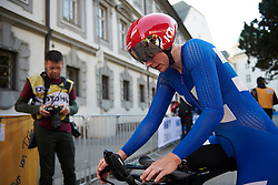 Lotta Lepistö (FIN) arrives in the finish area at UCI Road World Championships 2018 - Elite Women's ITT, a 27.7 km individual time trial in Innsbruck, Austria on September 25, 2018. Photo by Sean Robinson/velofocus.com