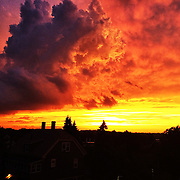 Stormy sunset over Boston