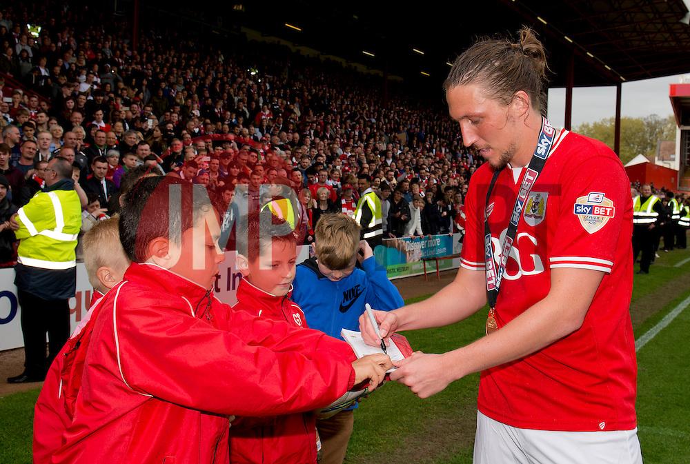 Bristol City's Luke Ayling signs autographs - Photo mandatory by-line: Dougie Allward/JMP - Mobile: 07966 386802 - 03/05/2015 - SPORT - Football - Bristol - Ashton Gate - Bristol City v Walsall - Sky Bet League One