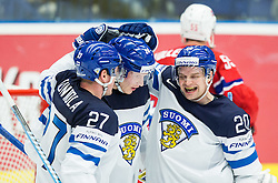 Petri Kontiola of Finland, Joonas Kemppainen of Finland and Janne Pesonen of Finland celebrate after scoring third goal for Finland during Ice Hockey match between Norway and Finland at Day 4 in Group B of 2015 IIHF World Championship, on May 4, 2015 in CEZ Arena, Ostrava, Czech Republic. Photo by Vid Ponikvar / Sportida