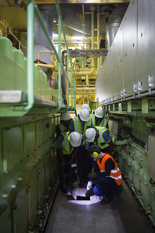 Walking through the engine room of the Maersk Attender