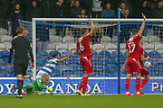 GOAL 1-1 Queens Park Rangers forward Nahki Wells (21) scores, Middlesbrough players signal for off-side during the EFL Sky Bet Championship match between Queens Park Rangers and Middlesbrough at the Kiyan Prince Foundation Stadium, London, England on 9 November 2019.