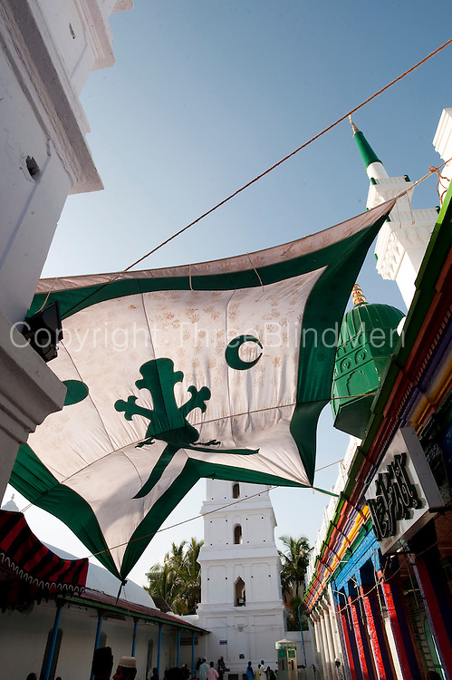 A sun shade in the courtyard of the Nagore Aandagai Dargah Shareef. Nagore.