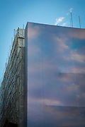 A building under construction in Broadgate with a sky-coloured cover so as to blend into the surroundings in attempt to distract from the building work on Broadgate Circle, London, United Kingdom. (photo by Andrew Aitchison / In pictures via Getty Images)