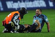 An injured John Afoa gets tended to by medics. Investec Super Rugby - Chiefs v Blues, Waikato Stadium, Hamilton, New Zealand. Saturday 26 March 2011. Photo: Andrew Cornaga / photosport.co.nz