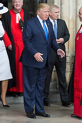 © Licensed to London News Pictures. 03/06/2019. London, UK. US President Donald Trump visits Westminster Abbey on the first day of a three day state visit to the UK. Photo credit: Ray Tang/LNP