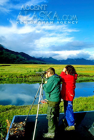 Alaska. Alaska Peninsula. Alaska Range. Clearwater Creek Camp. Visitors enjoy the bear viewing. MR.