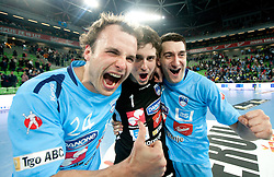 Uros Zorman, Matevz Skok and Dragan Gajic of Slovenia celebrate after the handball match between National teams of Slovenia and Poland of Qualifications for EURO 2012, on March 9, 2011 in Arena Stozice, Ljubljana, Slovenia. Slovenia defeated Poland 30-28. (Photo By Vid Ponikvar / Sportida.com)