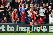 AFC Bournemouth midfielder Dan Gosling celebrates scoring to give Bournemouth a 2-1 lead during the EFL Cup match between Bournemouth and Preston North End at the Vitality Stadium, Bournemouth, England on 20 September 2016. Photo by Graham Hunt.