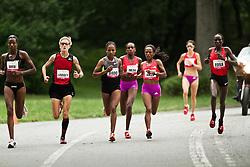 NYRR Mini 10K road race (40th year); lead pack of elite runners