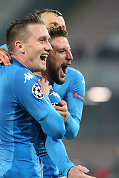 November 21, 2017 - Napoli, Campania/Napoli, Italy - Soccer match between SSC Napoli  and   FC Shakhtar Donetsk    at San Paolo  Stadium in Napoli .final result Napoli vs. FC Shakhtar Donetsk   3-0.In photo,in order L to R: Piotr Zielinski (SSC NAPOLI ) and Dries Mertens  (Credit Image: © Salvatore Esposito/Pacific Press via ZUMA Wire)