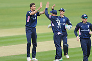 Steven Finn and Middlesex celebrate the wicket of James Vince  during the Royal London One Day Cup match between Hampshire County Cricket Club and Middlesex County Cricket Club at the Ageas Bowl, Southampton, United Kingdom on 23 April 2019.