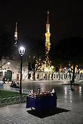 illuminated Sultanahmet Camii mosque Istanbul Turkey