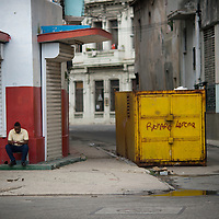 Cuba, Havana central, along el prado, architecture, garbage container