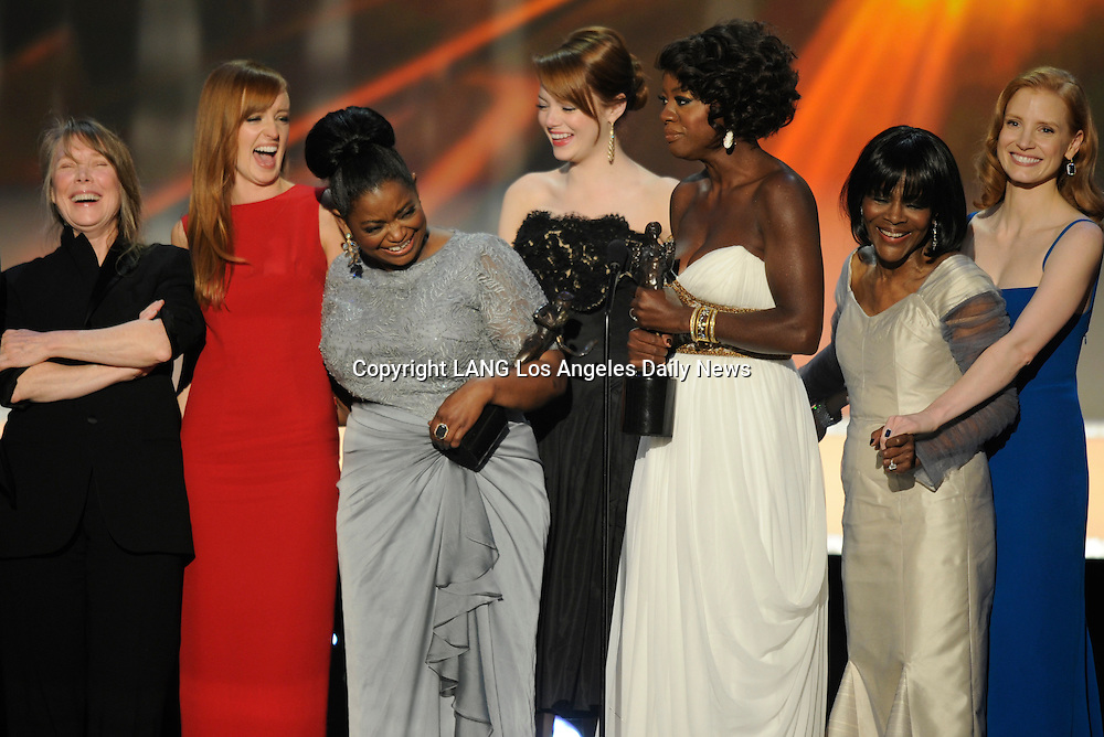 "The cast of ""The Help,"" won Cast in a Theatrical Motion Picture. The 18th Annual Screen Actors Guild Awards were held at the Shrine Exposition Center in Los Angeles, CA 1/29/2012(John McCoy/Staff Photographer)"