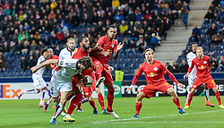 20.10.2016, Red Bull Arena, Salzburg, AUT, UEFA EL, FC Red Bull Salzburg vs OGC Nizza, Gruppe I, im Bild Paul Baysse (OGC Nice), Paulo Miranda (FC Red Bull Salzburg), Valentino Lazaro (FC Red Bull Salzburg), Fredrik Gulbrandsen (FC Red Bull Salzburg) // during the UEFA Europa League group I match between FC Red Bull Salzburg and OGC Nizza at the Red Bull Arena in Salzburg, Austria on 2016/10/20. EXPA Pictures © 2016, PhotoCredit: EXPA/ JFK