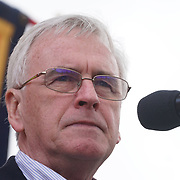 John McDonnell addresses the crowds in Trafalgar square 1st May 2017, for the annual May Day march and rally  in London, UK. by See Li