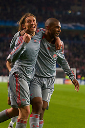 EINDHOVEN, THE NETHERLANDS - Tuesday, December 9, 2008: Liverpool's Ryan Babel celebrates scoring the equalising goal against PSV Eindhoven with team-mate Lucas Leiva during the final UEFA Champions League Group D match at the Philips Stadium. (Photo by David Rawcliffe/Propaganda)