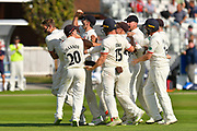 Tied match - Drama as catcher Tom Bailey of Lancashire and bowler Keshav Maharaj of Lancashire are mobbed after taking the wicket to dismiss Jack Leach of Somerset to tie the macth during the Specsavers County Champ Div 1 match between Somerset County Cricket Club and Lancashire County Cricket Club at the Cooper Associates County Ground, Taunton, United Kingdom on 5 September 2018.