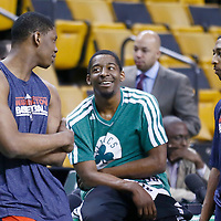 07 April 2013: Washington Wizards power forward Kevin Seraphin (13) talks to Boston Celtics shooting guard Jordan Crawford (27), with Washington Wizards point guard A.J. Price (12) prior to the Boston Celtics 107-96 victory over the Washington Wizards at the TD Garden, Boston, Massachusetts, USA.