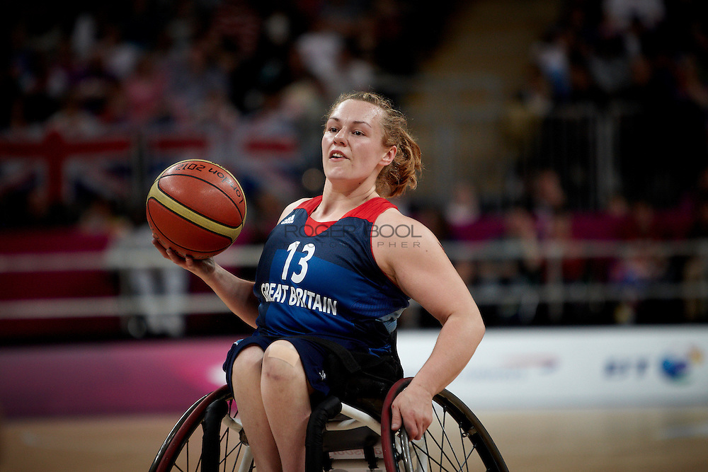 Louise Sugden of the Gerat Britain women's Wheelchair Basketball team plays at the Paralympic Basketball Arena in their 42-37 win over Brazil on day 3 of the London 2012 Paralympic Games. 1st September 2012.