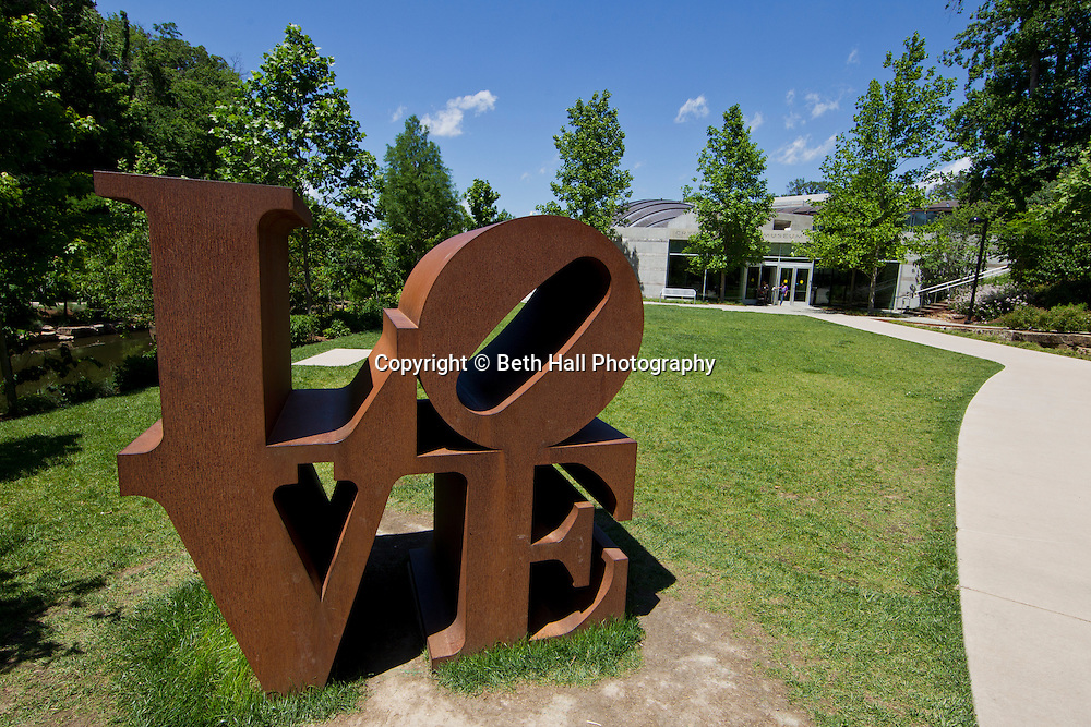 Robert Indiana sculpture, LOVE, at Crystal Bridges Museum of American on Sunday, June 9, 2013, in Bentonville, Ark.