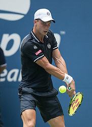 August 28, 2018 - Flushing Meadows, New York, U.S - Marton Fucsovics during his match against Novak Djokovic on Day 2 of the 2018 US Open at USTA Billie Jean King National Tennis Center on Tuesday August 28, 2018 in the Flushing neighborhood of the Queens borough of New York City. Djokovic defeats Fucsovics, 6-3, 3-6, 6-4, 6-0. (Credit Image: © Prensa Internacional via ZUMA Wire)