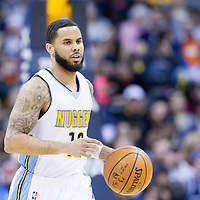 06 March 2016: Denver Nuggets guard D.J. Augustin (12) brings the ball up court during the Denver Nuggets 116-114 overtime victory over the Dallas Mavericks, at the Pepsi Center, Denver, Colorado, USA.