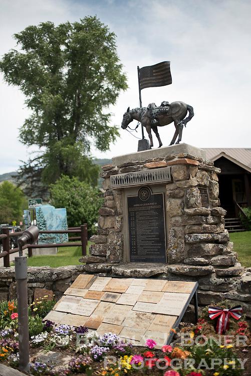 Veterans memorial statue at American Legion Post 43, Jackson, Wyoming.