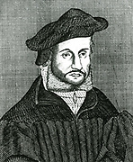 Andreas Osiander (1498-1552), German Lutheran theologian, [17th century].  Osiander was Professor of Theology at Konigsberg and was responsible for seeing through the press Nicolas Copernicus (1473-1543) 'De revolutionibus orbium coelestium' ('On the Revolutions of the Heavenly Spheres') and in 1543 was able to present the author with a copy on his deathbed .
