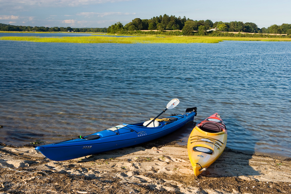 Kayaks on the beach at Griswold Point in Old Lyme, Connecticut.  Mouth of the Connecticut River.  Long Island Sound.  The Nature Conservancy's Griswold Point Preserve.