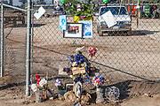 Roadside memorial along route 180 outside of Fresno. San Joaquin Valley, California, USA